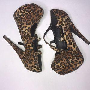 Leopard Strapped Pumps